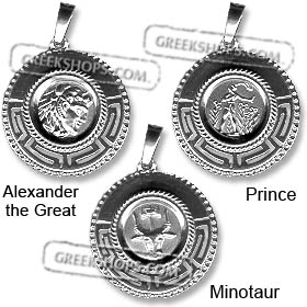 Sterling Silver Pendant - Two-Sided Circular (Alexander, Prince, or Minotaur) 2cm