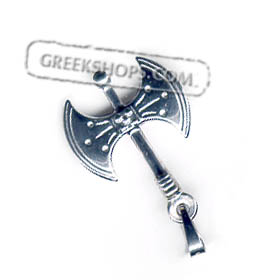 Sterling Silver Pendant - Minoan Double Axe (35mm)
