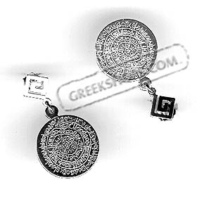 Sterling Silver Earrings - Phaistos Disk with Greek Key Motif (35mm)