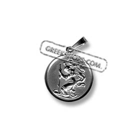 Platinum Plated - Sterling Silver Pendant - Religious Icon - St. Christopher (16mm)
