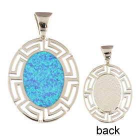 The Neptune Collection - Sterling Silver Pendant - Oval w/ Greek Key & Opal (39mm)