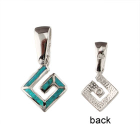 The Neptune Collection - Sterling Silver Pendant - Square Greek Key & Opal (8mm)