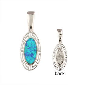 The Neptune Collection - Sterling Silver Pendant - Oval w/ Greek Key & Opal (17mm)