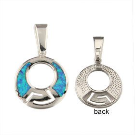 The Neptune Collection - Sterling Silver Pendant - Hoop w/ Greek Key & Opal (14mm)