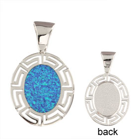 The Neptune Collection - Sterling Silver Pendant - Oval w/ Greek Key & Opal (29mm)