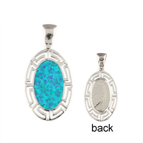 The Neptune Collection - Sterling Silver Pendant - Oval w/ Greek Key & Opal (27mm)