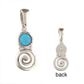 The Neptune Collection - Sterling Silver Pendant - Swirl Motif & Opal (18mm)
