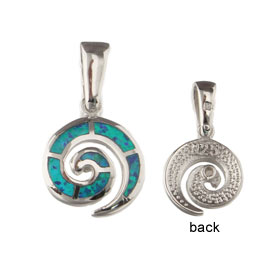 The Neptune Collection - Sterling Silver Pendant - Swirl Motf & Opal (13mm)