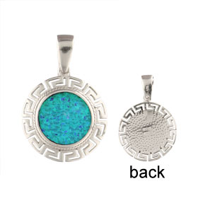 The Neptune Collection - Sterling Silver Pendant - Circle w/ Greek Key & Opal (22mm)