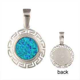 The Neptune Collection - Sterling Silver Pendant - Circle w/ Greek Key & Opal (17mm)