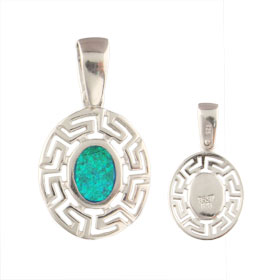 The Neptune Collection - Sterling Silver Pendant - Oval w/ Greek Key & Opal (16mm)