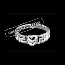Sterling Silver Greek Key Heart Ring
