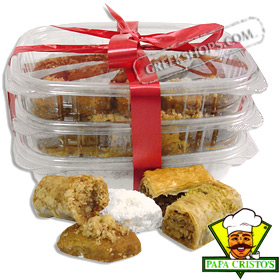 Greek Christmas Cookies & Baklava Combo Pack - Courambiedes, Melomakarona & Baklava variety