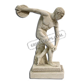 "Discus Thrower Statue (13"" / 33 cm.) White-colored"