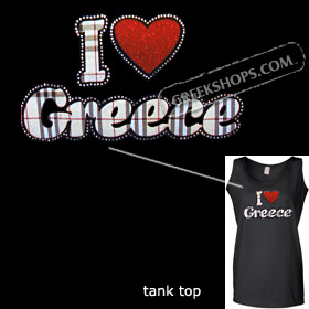 Crystal Studded Tank Top - Plaid I Love Greece Style D6099