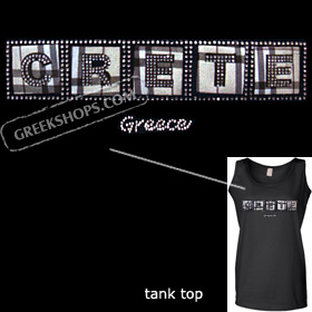 Crystal Studded Tank Top - Plaid Crete / Greece Style D6104