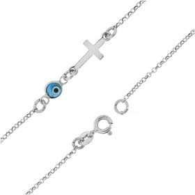 Sterling Silver Evil Eye and Cross Thin (1mm) Bracelet