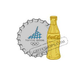 Torino 2006 Coca Cola Nickel Cap & Gold Bottle Pin