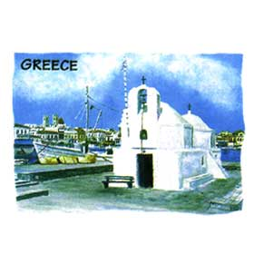 Greek Islands Seaport Tshirt 98