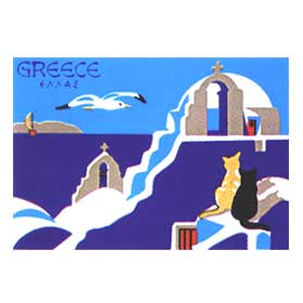 Cats overlooking Greek Islands Tshirt 78