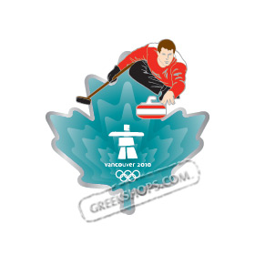 LIMITED EDITION Vancouver 2010 Clear Aqua Leaf - Curler Pin