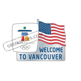 Vancouver 2010 Welcome Flag US Pin