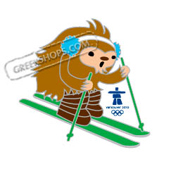 Vancouver 2010 Mascot Quatchi Freestyle Moguls Skiing Pin