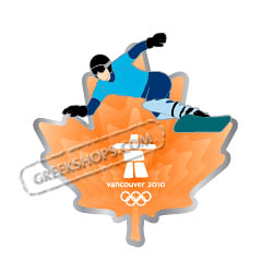 Vancouver 2010 Clear Orange Leaf Snowboarder Pin