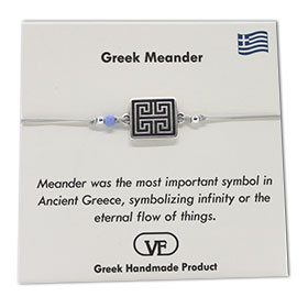 The Filia Bracelet Collection:: Greek Meander Adjustable Macrame Silver Thread Bracelet