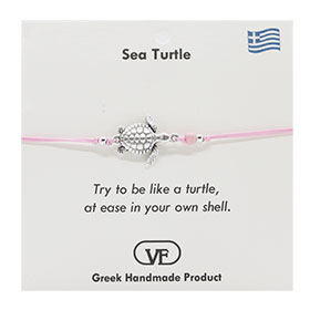 The Filia Bracelet Collection:: Greek Turtle adjustable Macrame Pink Bracelet