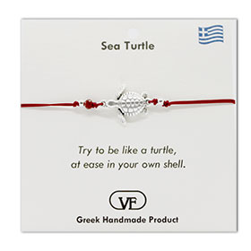 The Filia Bracelet Collection:: Greek Turtle adjustable Macrame Red Bracelet
