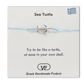 The Filia Bracelet Collection:: Greek Turtle adjustable Macrame Turquoise Bracelet