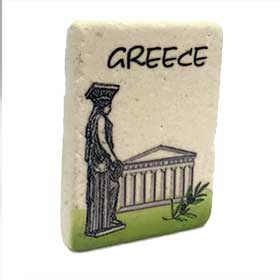 Decorative Greek Magnet feat.Caryatis and Parthenon