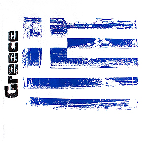 """Greece"" and Greek Flag Vintage Style D275"