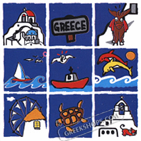Greece Themed Cartoon Tiles Hooded Sweatshirt Style D371