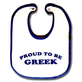 """Proud to Be Greek"" Infant Bib - 30% off"