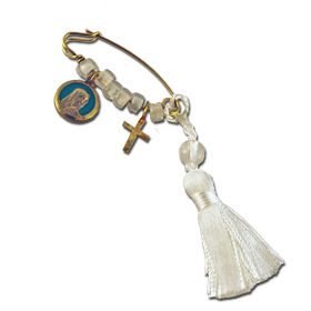 Gold Plated Sterling Silver Baby Boy Safety Pin w/ Virgin Mary and Cross Charms
