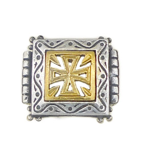Palaiologan Collection - 24k Gold Plated Sterling Silver Ring - Byzantine Cross on Square
