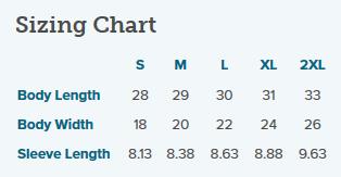 Tshirt Size Chart