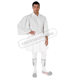 White Shirt for Mens Greek Tsolia Costume