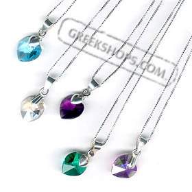 Swarovski Crystal Heart Pendant on Silver Chain (1/2 in.)