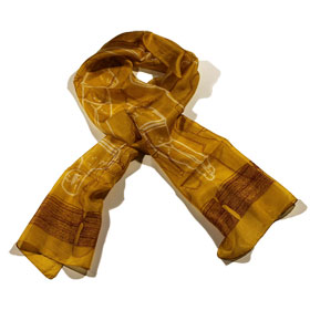 Cycladic Idol Silk Scarf - Gold Color