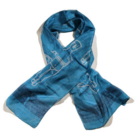 Cycladic Idol Silk Scarf - Blue Color