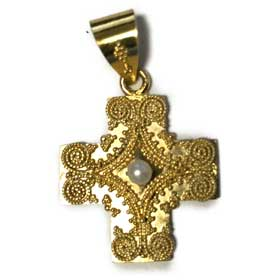 14K Gold Plated Sterling Silver Greek Orthodox Cross with Faux Pearl