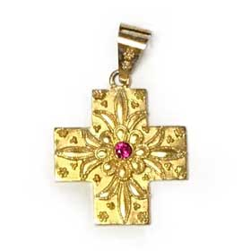 14K Gold Plated Sterling Silver Greek Orthodox Cross with Faux Ruby