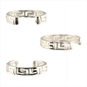 Sterling Silver Greek Key Cut Out Toe Ring 4mm (Adjustable)