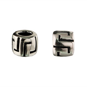 Pandora Compatible Sterling Silver Greek Key Bead (8mm) - Fits all Charm Bracelets