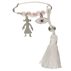 Sterling Silver Baby Girl Safety Pin w/ Girl and Evil Eye Charms