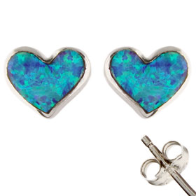 The Neptune Collection - Sterling Silver Earrings - Heart and Opal (8mm)