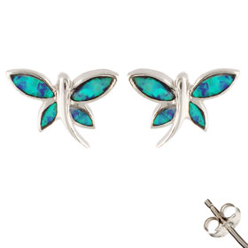 The Neptune Collection - Sterling Silver Earrings - Butterfly and Opal (12mm)